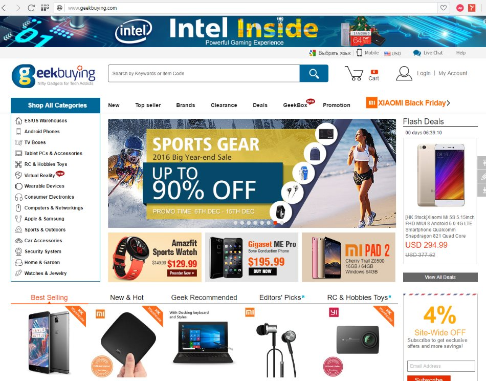f2a0315b832 GeekBuying – хороший китайский магазин в основном торгующий компьютерными  товарами. Его посещаемость составляет 9