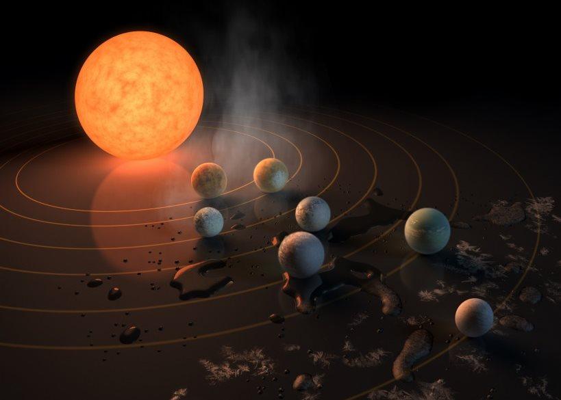 Звезда красный карлик и три планеты похожие на Землю