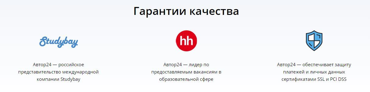 Какие гарантии качества может предоставить author24.ru?