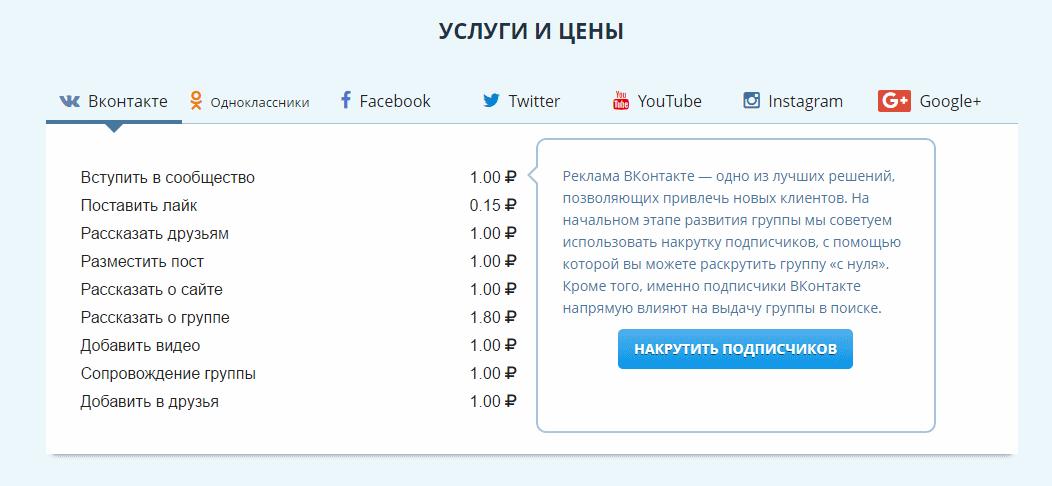 VKTARGET - сервис продвижения в социальных сетях - ЦЕНЫ