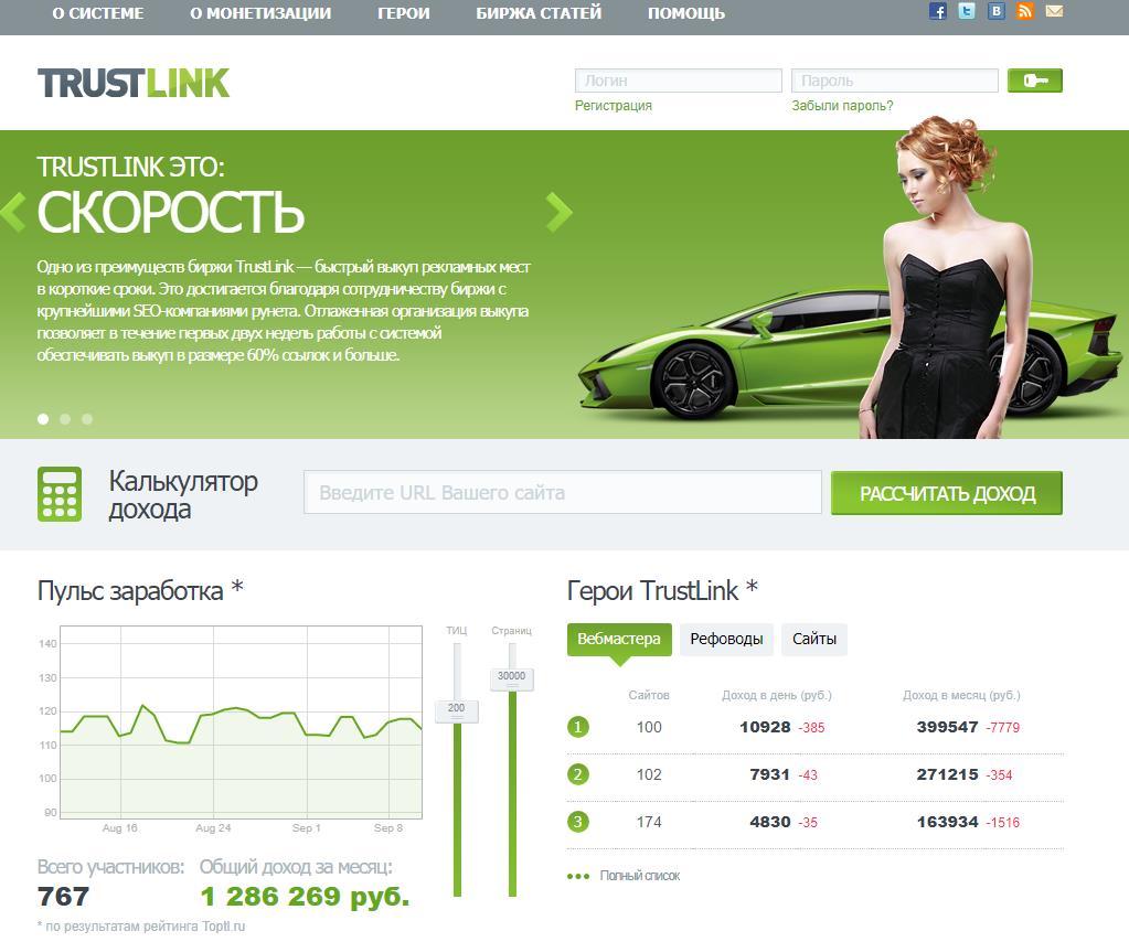 TrustLink.ru – зарабатываем на бирже трастовых ссылок для Вебмастеров и Оптимизаторов