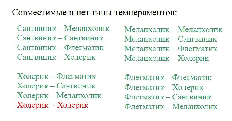 Совместимость темпераментов
